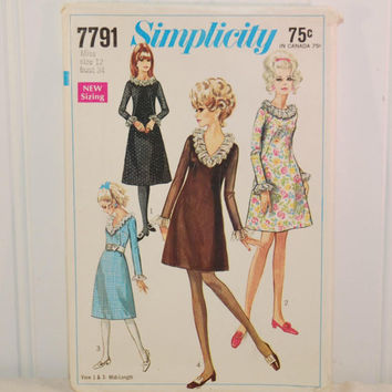 Vintage Simplicity 7791 Misses' Dress In Two Lengths (c. 1968) Misses' Size 12, Bust Size 34 Inches, Retro Party Dress, Vintage Dress