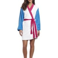 Sweet Juniors White Color Block Kimono Robe, White/Fuchsia/Turquoise, Medium