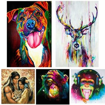 WaterColorful Animal Frameless DIY Painting By Numbers Handpainted Oil Painting on Canvas