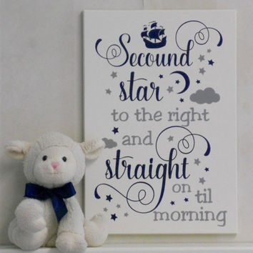 Second Star on the Right And Straight on Till Morning - Peter Pan Quote Navy / Gray Nursery Playroom Decorating Ideas, Baby Nursery Wall Art