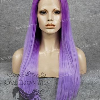 """24"""" Heat Safe Synthetic Straight Texture Lace Front """"Aphrodite"""" in Lavender Root Ombre"""