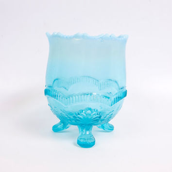 Vintage Northwood Glass Aqua Glass Candy Dish Footed Bowl Turquoise Trinket Holder Rose Bowl Embossed Glass Milk Glass Points