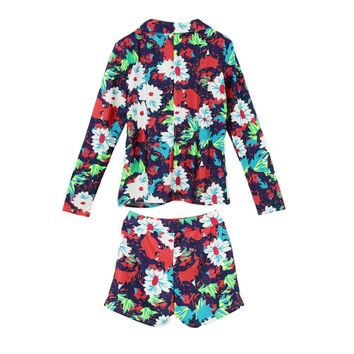 Trendy Floral Print Long Sleeve Blazer Hot Shorts Two-Piece Set for Women