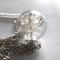 Dandelion Necklace Make A Wish 03 Glass by NaturalPrettyThings