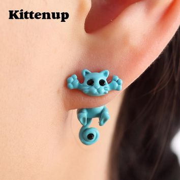 Kittenup New Multiple Color Classic Fashion Kitten Animal brincos Jewelry Cute Cat Stud Earrings For Women Girls