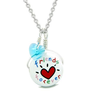 Handcrafted Cute Ceramic Lucky Charm Best Friends Forever Blue Heart Amulet Pendant 22 Inch Necklace
