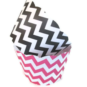 Set of 12 Pink and Black Chevron Cupcake Wrappers - Bridal Showers, Chevron Cupcake Wrappers, Hot Pink and Black