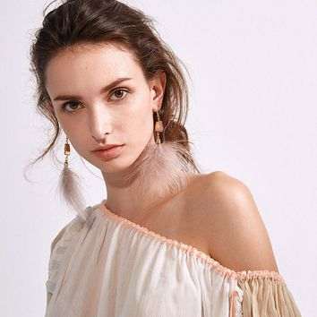 Boho Feather Earrings (Gray or Pink)