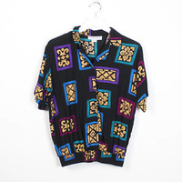 Vintage 1980s Shirt Black Teal Purple Gold Floral Geometric Abstract Print Slouchy 80s Blouse Collared Shirt Hipster Boyfriend Top S Small M
