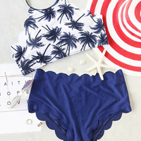 Blue Scalloped Trim Coconut Tree Print Bikini Set