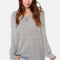 Snuggling Act Studded Grey Sweater