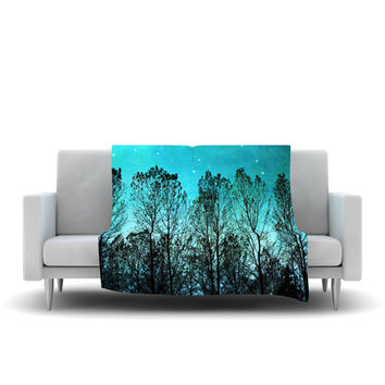 "Sylvia Cook ""Dark Forest"" Blue Trees Fleece Throw Blanket"