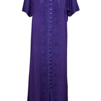 Women's Boho Maxi Dress Floral Embroidered Purple Gypsy Cover Up Dresses L: Amazon.ca: Clothing & Accessories
