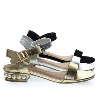 Carisa Gold By City Classified, Low Block Heel Sandal w Pearl Balls In Metallic Heel & Adjustable Strap