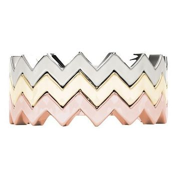 Stackables 3/4 Eternity Tri-Tone Gold Modern Shank 3-Band Set Selectables
