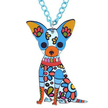 Acrylic Necklace Chihuahua Dog Pendant Chain Collar Choker Pendant  Animal Fashion Jewelry For Women Girs New Accessories