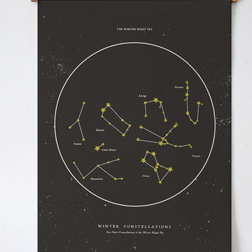 Winter Night Star Chart - PRINTABLE FILE. Seasonal Constellations. Zodiac Celestial Astronomy Print. Night Sky Chart. Star Map Zodiac Print.
