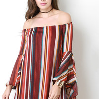 Colorful Striped Chiffon Off The Shoulder Bell Sleeve Dress