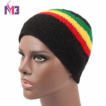 Women Men Casual Knitted Rasta Hat Winter Warm Handmade Crochet Hat Jamaica Style Beanie Caps Bob Marley Rasta Reggae Hat