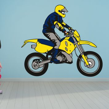 Yellow Dirt Bike Wall Art Decal Sticker