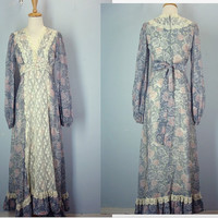 Vintage Peasant Dress / Gunne Sax Dress / Floral Maxi Dress / Lace Dress