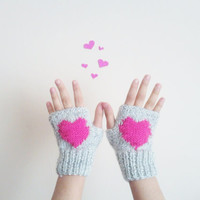 Fingerless Gloves/Fingerless Mittens / Valentines Day/ Heart Mittens / Winter Fashion 2013-2014/ Hand Knit Gloves/Gray and Neon pink Gloves