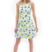 Multi Colorful Daisy Print Sleeveless Dress