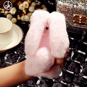AKABEILA Fluffy Rabbit Fur Silicon Phone Case For Xiaomi Redmi 4X 5.0 inch Fashion Bling Diamond Cover Shell Back Housing