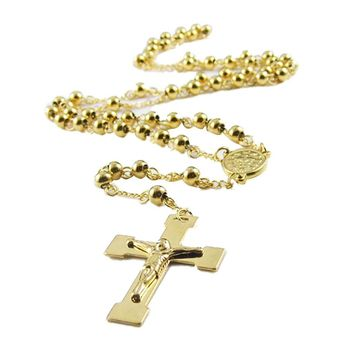 Stainless Steel Pendant Necklace Gold Virgin Mary Jesus Christ Crucifix Cross Ball Bead Rosary Vintage Retro 70cm Chain Man