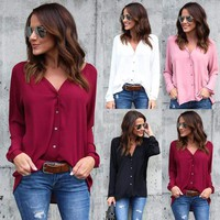 US Women's Lady Summer Long Sleeve Loose Blouse Casual Shirt Tops T-Shirt