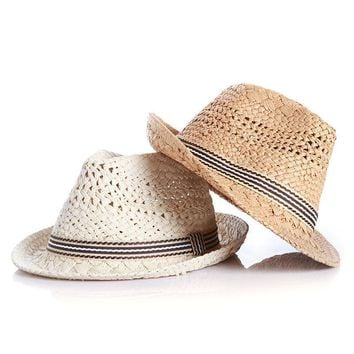 Summer Lovely Bear Child Sun hat Beach Sunhat Fedora hat Trilby Straw panama Hat boy girl Gangster Cap Fit For Kids Children