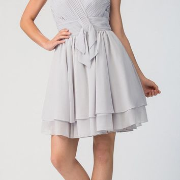 Strapless Ruched Bodice Short Homecoming Dress Silver