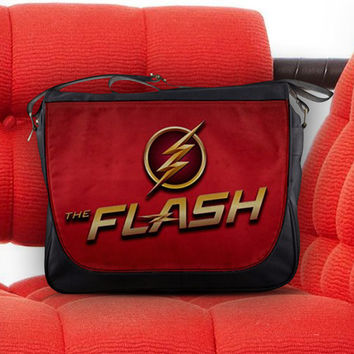 The Flash Logo Justice League Super Speed Crimson Comet Unisex Messenger Sling Laptop Notebook School Bag