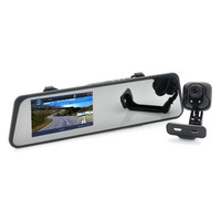 4.3 Inch Car Mirror Camcorder + Rear View Camera Combo - 1080p 3.0MP Front + 720p 1.3MP Rear Camera, GPS, IR Night Vision