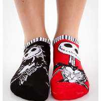 Nightmare Before Christmas Jack Mix & Match Stripe Trim No Show Socks