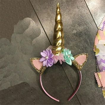 Baby Girl's Gold Unicorn Head Band