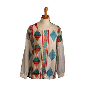Vintage 70s AZTEC Pattern Pullover Shirt  by bluebutterflyvintage