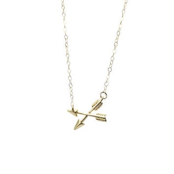 Crossed Arrows Friendship Necklace- Gold Filled