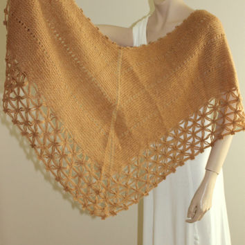 Hand Knitting and Crocheted Blended Milky Brown Shawl / Women Accessories /