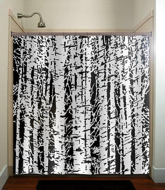 Forest Woodland White Birch Trees Shower From