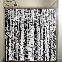 forest woodland white birch trees shower curtain bathroom decor fabric kids bath white black custom color curtains
