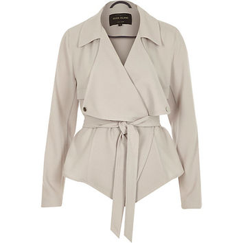 River Island Womens Grey cropped drape trench jacket