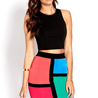 FOREVER 21 Colorblocked Sweater Skirt Black/Multi