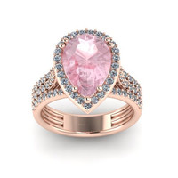 Diamond Engagement Ring 14K Rose Gold with 10x8mm Pear Shape Morganite Center - V1089