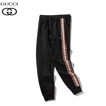 GUCCI Fashion New More Letter Print High Quality Sports Leisure Women Men Pants Black