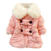 Baby Girls Double Breasted Jacket Coat Kid Thicken Snowsuit Outwear Clothes 1-5y
