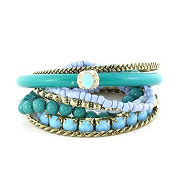 Blue Stacking Bracelets Set Beaded Crystal Stretch Cuff Twisted Studded Bangles BB41 Fashion Jewelry