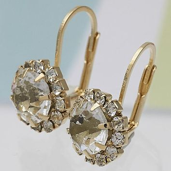 Gold Layered Women Flower Leverback Earring, with White Cubic Zirconia, by Folks Jewelry