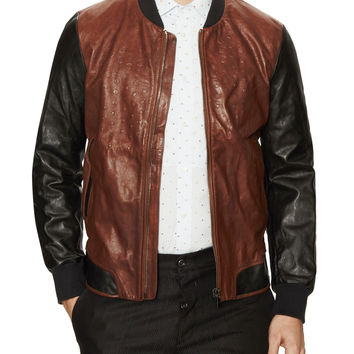 Lipiram Embossed Leather Jacket