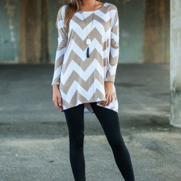 You're The One Tunic, Mocha/White